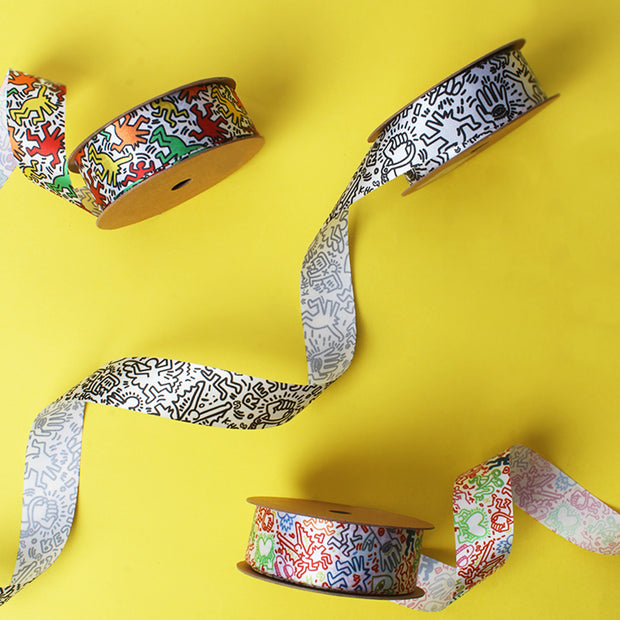 25mm Yellow/Black Graffiti Cut Edge SF Satin Ribbon