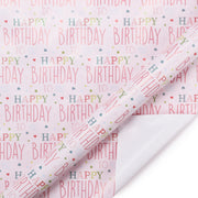 Pink happy birthday theme wrapping paper roll