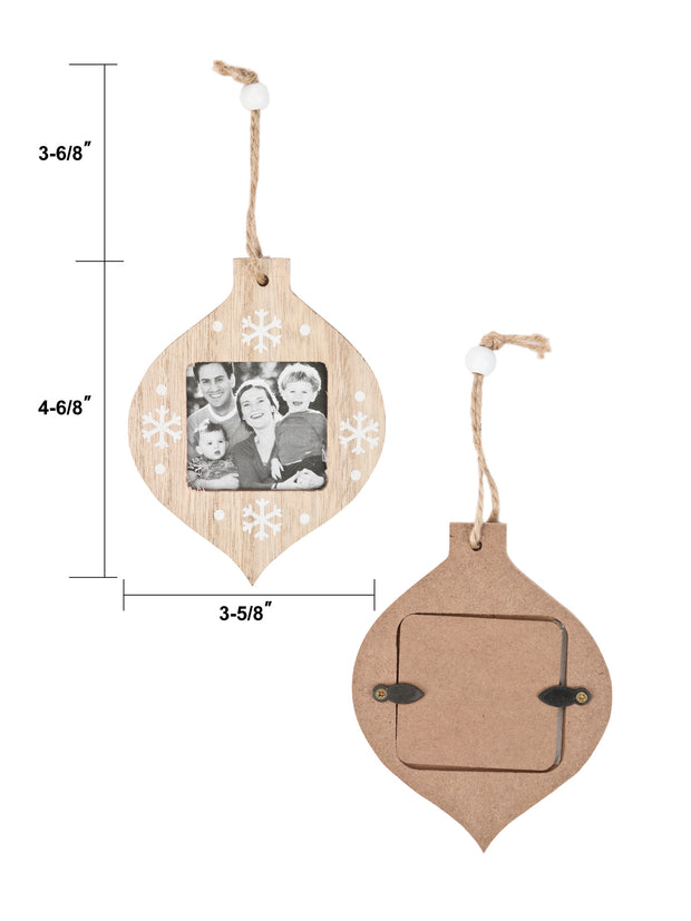 LaRibbons 6Pcs Innovative Christmas Ornaments DIY Wooden Photo Frame Pendant for Party Decor with 100Ft Hemp Rope