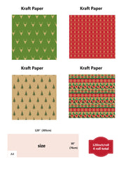 Red and green Kraft wrapping paper sheets with dimensions