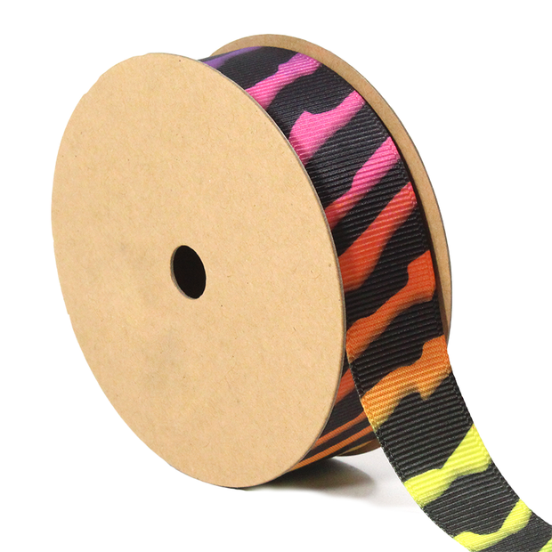 7/8 inch rainbow zebra grosgrain ribbon