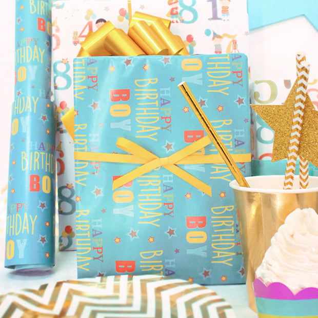 Teal happy birthday theme wrapping paper