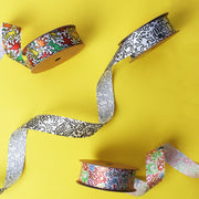 25mm White/Multi Color Graffiti Cut Edge SF Satin Ribbon