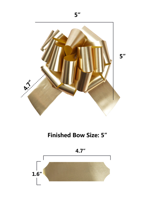 Metallic gold gift bow with dimensions