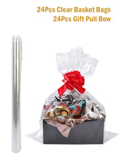 "24Pcs Clear Cellophane Bags Gift Basket Packaging Bags Flat - 24"" X 30"" & 24Pcs Gift Pull Bows"