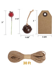 Holly berry sticks, small bells, square gift tags and twine with dimensions