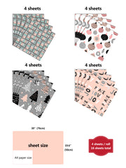 Pink and grey Christmas theme wrapping paper sheets with dimensions