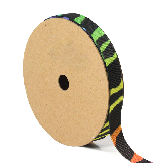 3/8 inch rainbow zebra grosgrain ribbon