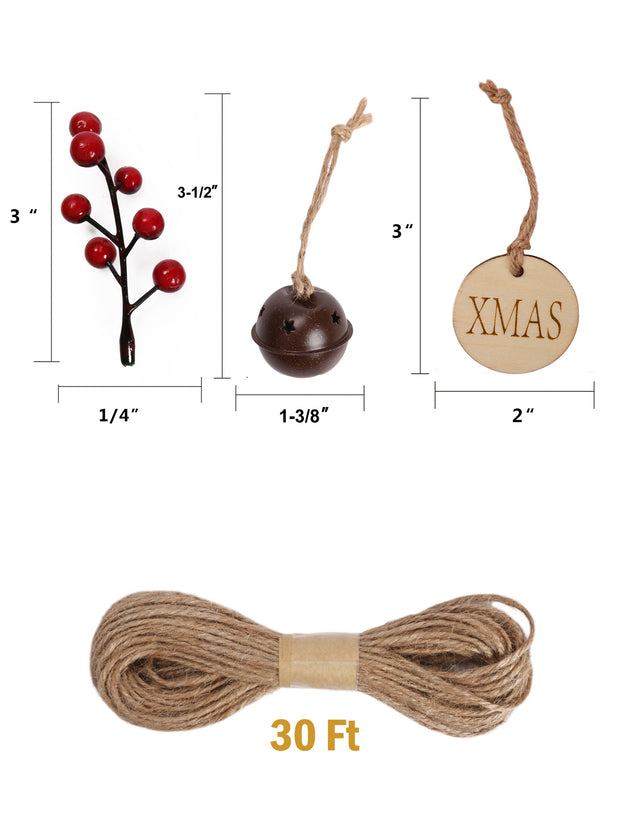 Holly berry sticks, small bells, round gift tags and twine