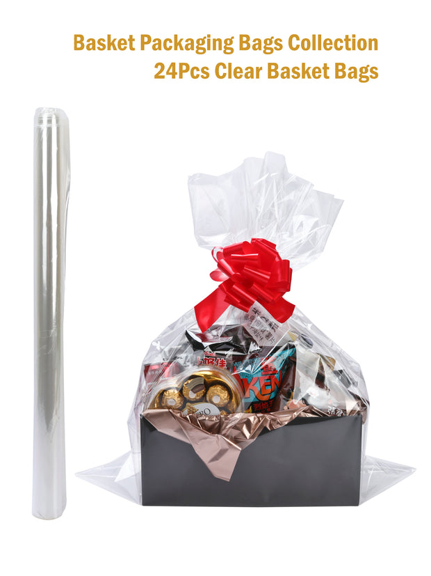 "24Pcs Clear Cellophane Bags Gift Basket Packaging Bags Flat - 24"" X 30"""
