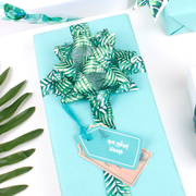50mm White/Green Palm Tree Single Satin Ribbon