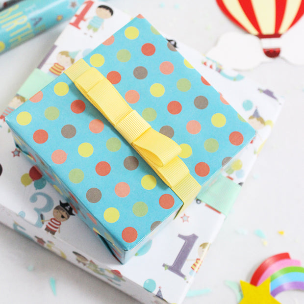 Teal polka dot happy birthday theme wrapping paper