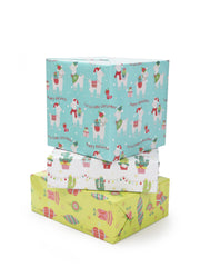 Stack of teal, white and lime green cactus theme wrapped gifts