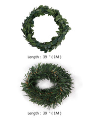 Green wreaths with dimensions