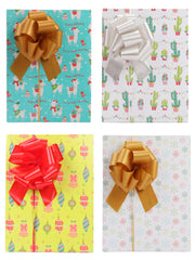 Collection of cactus theme wrapped gift boxes with matte gold, red and silver gift bows