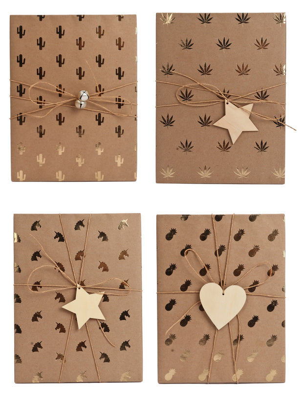 Gold foil kraft gift boxes, wrapped with wood heart and star gift tags