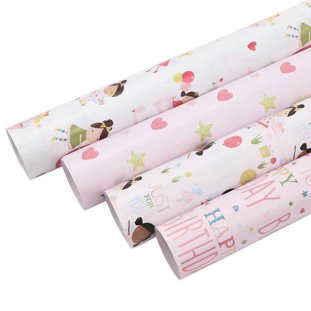 Pink and white happy birthday theme wrapping paper rolls