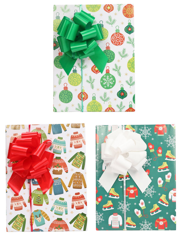 Ugly sweater theme wrapped gifts with green, red and white gift bows