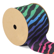 2 1/4 inch rainbow zebra grosgrain ribbon