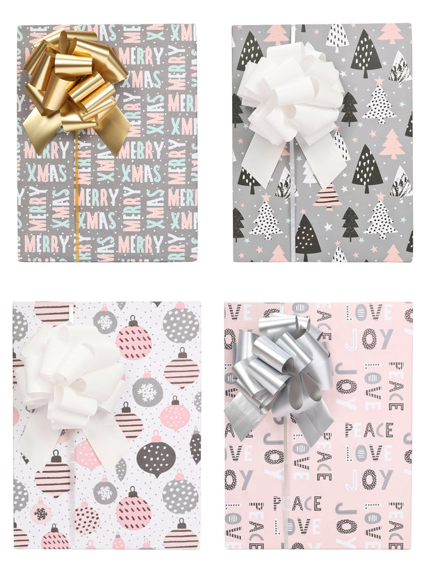 Pink and grey Christmas theme boxes gift wrapped with metallic gold, white and silver gift bows