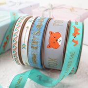 25mm Grey/Orange/Gold Fox Ribbon