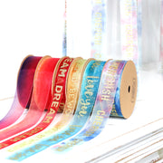 "25mm Teal/Gold ""Love You"" Glitter Printed Organza Ribbon"