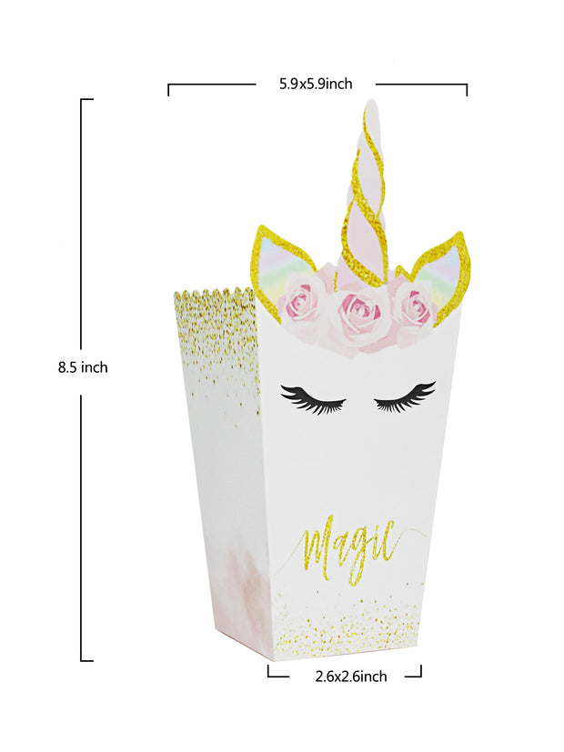 24Pcs Popcorn Snack Boxes Rainbow Unicorn Pattern Containers