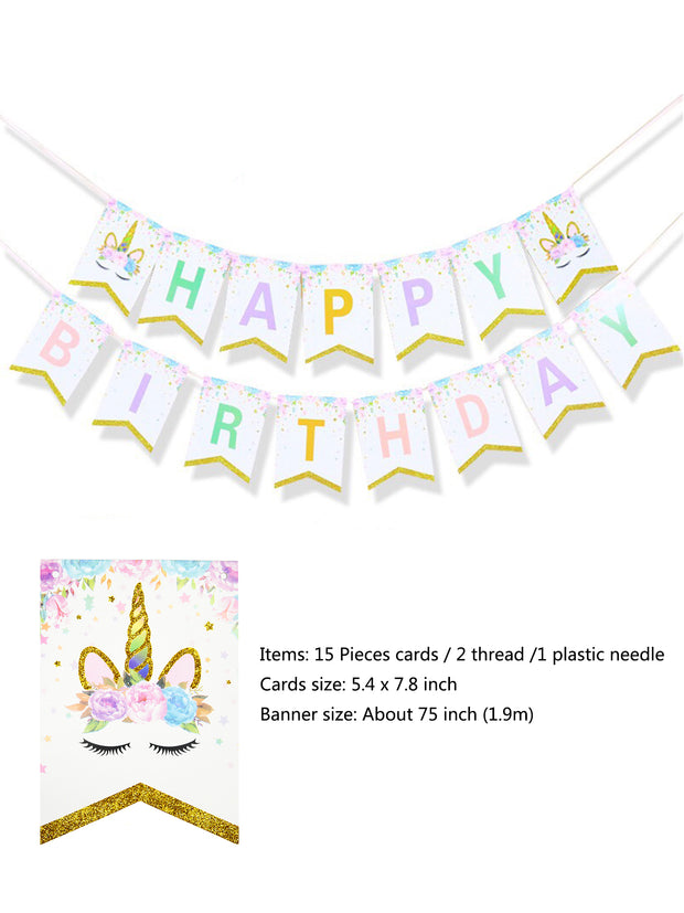 20pcs Unicorn Plates,Happy Birthday Banner Set Table Decoration for Baby Shower Unicorn Themed