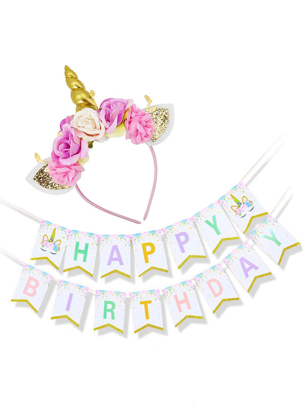 Gold Unicorn Headband and Happy Birthday Banner Unicorn Party Supplies,for Birthday Party, Baby Shower, Kids Party Decoration
