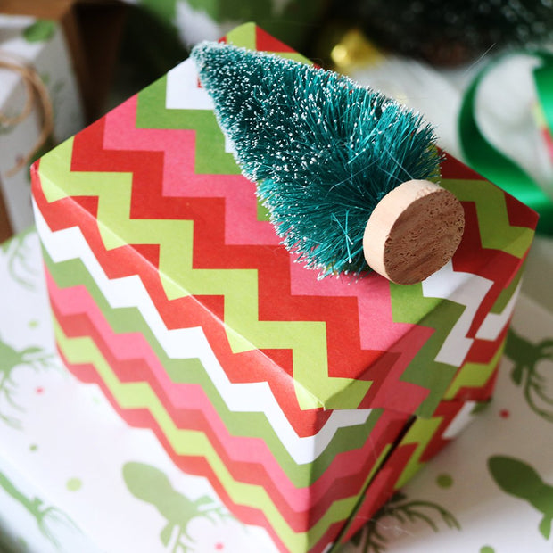 Red and green chevron wrapped gift