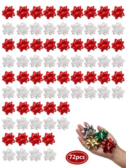 72 piece set red and white gift bow bundle