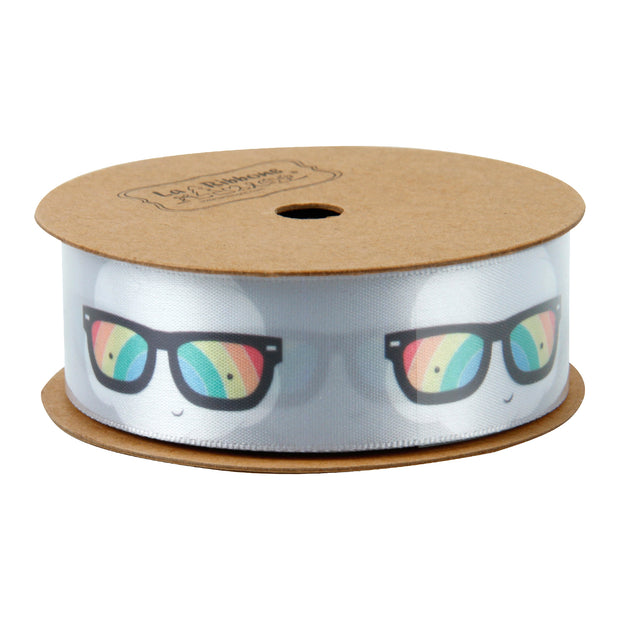 Gray satin ribbon spool printed with rainbow sunglasses