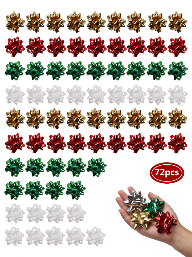 Green/Red/White/Gold 72 pcs 2 inch Gift Bow Bundle