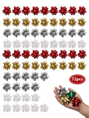 Silver, white, red and gold 72 pcs 2 inch gift bow bundle