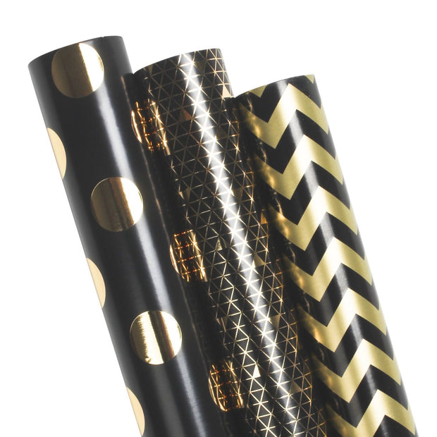 Black and gold geometric wrapping paper three roll pack