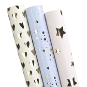 Stars and hearts gold foil printed wrapping paper three roll pack