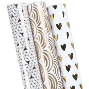 "LaRibbons Elegant Series Hearts/Waves/Geometric Wrapping Paper White/Gold 30"" x 120"" 3 Roll Pack"