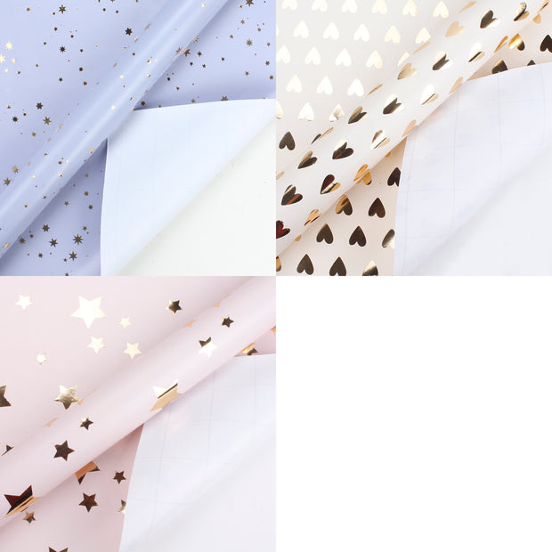 "Lavender/Pink/Beige ""Stars/Hearts/Geometric"" Metallic Foil Wrapping Paper 3 Roll Pack"