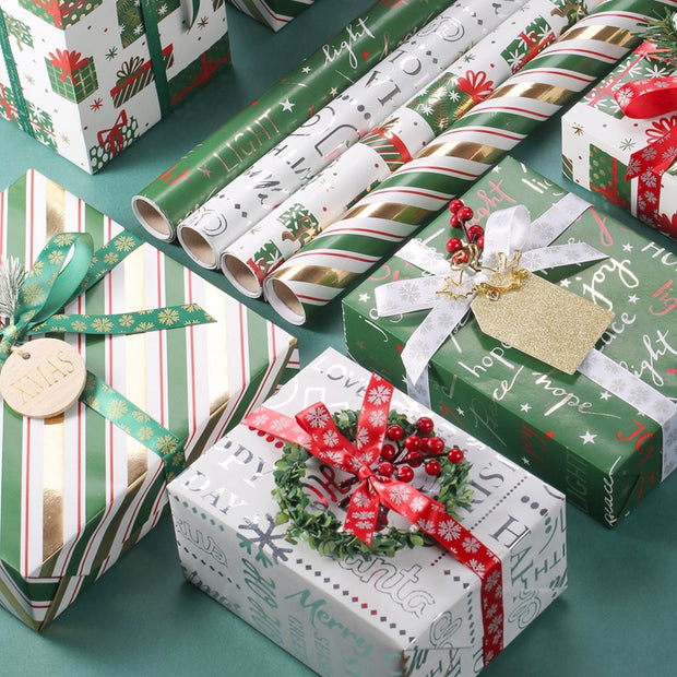 "Christmas Presents Metallic Foil Wrapping Paper White/Multi - 30"" x 120"""