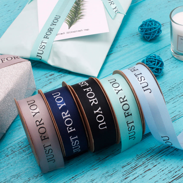 "25mm ""Just For You"" Printed Satin/Grosgrain Ribbon"