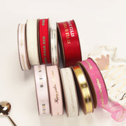 "15mm ""Happy Girls are the Prettiest"" Printed Satin Ribbon Pink/Gold"