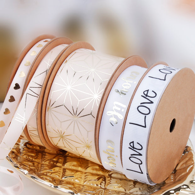 "16mm ""Enjoy Life"" Metallic Printed Satin Ribbon White/Gold"