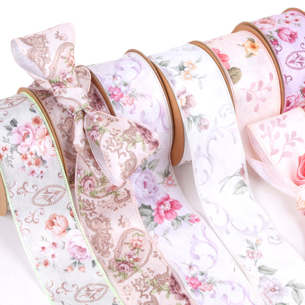 40mm White/Multi Victorian Floral Ribbon