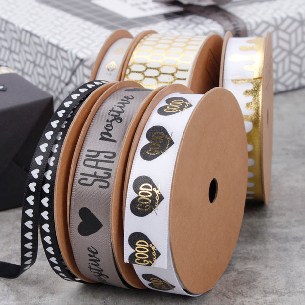 "16mm ""Good Luck"" Metallic Printed Ribbon White/Gold/Black"
