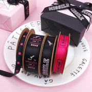 LaRibbons Balloon Printed Grosgrain Ribbon Black/Hot Pink