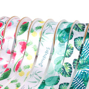 50mm White/Green Bamboo Printed Single Satin Ribbon