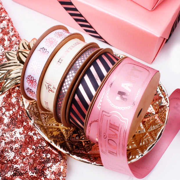 16mm Grey/Rose Gold Metallic Striped Printed Satin Ribbon