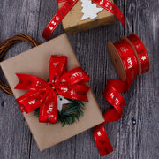 Red printed gift ribbon with gold printed designs