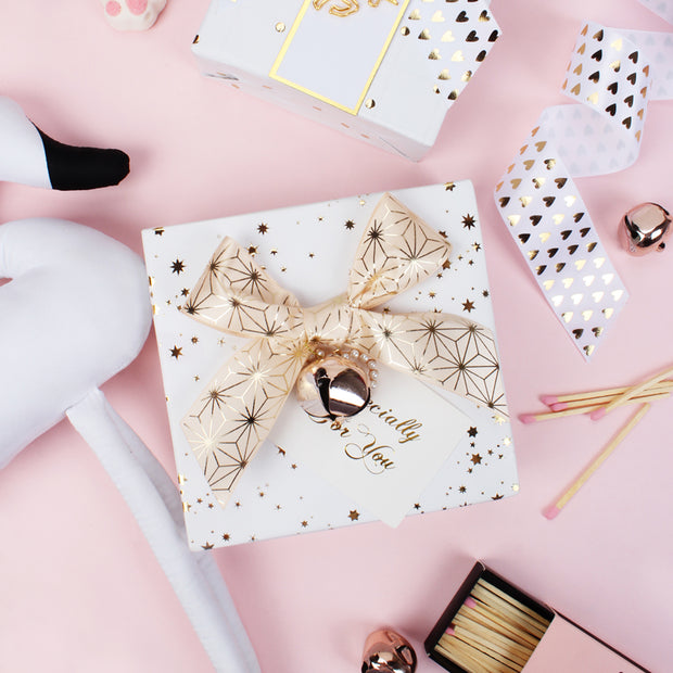 "White/Gold ""Foil Stars"" Wrapping Paper Roll"