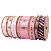 16mm Cream/Rose Gold Metallic Swirl Printed Satin Ribbon